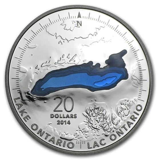 2014 Canada 1 oz Silver $20 The Great Lakes Lake Ontario