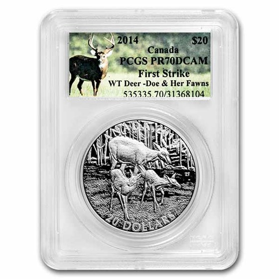 2014 Canada 1 oz Silver $20 White-Tailed Deer PF-70