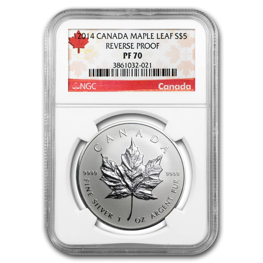 2014 Canada 1 oz Silver Reverse Proof Maple Leaf PF-70 NGC
