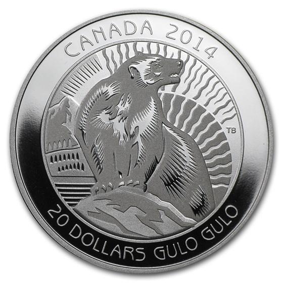 2014 Canada Silver $20 Untamed Canada Wolverine