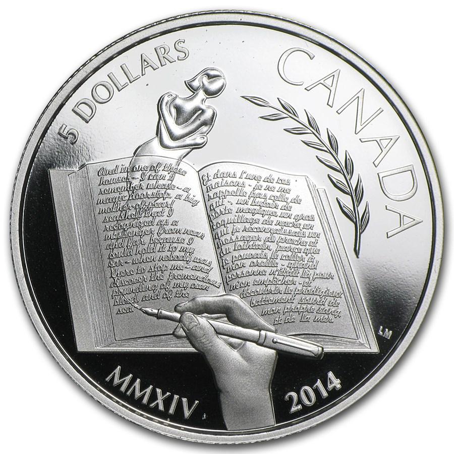 2014 Canada Silver $5 Alice Munro Proof (w/Box & COA)
