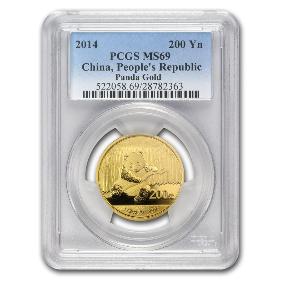 2014 China 1/2 oz Gold Panda MS-69 PCGS