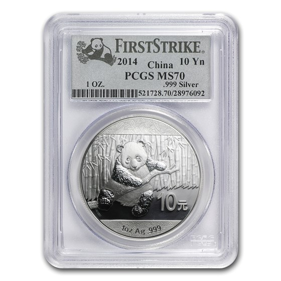 2014 China 1 oz Silver Panda MS-70 PCGS (FirstStrike®)