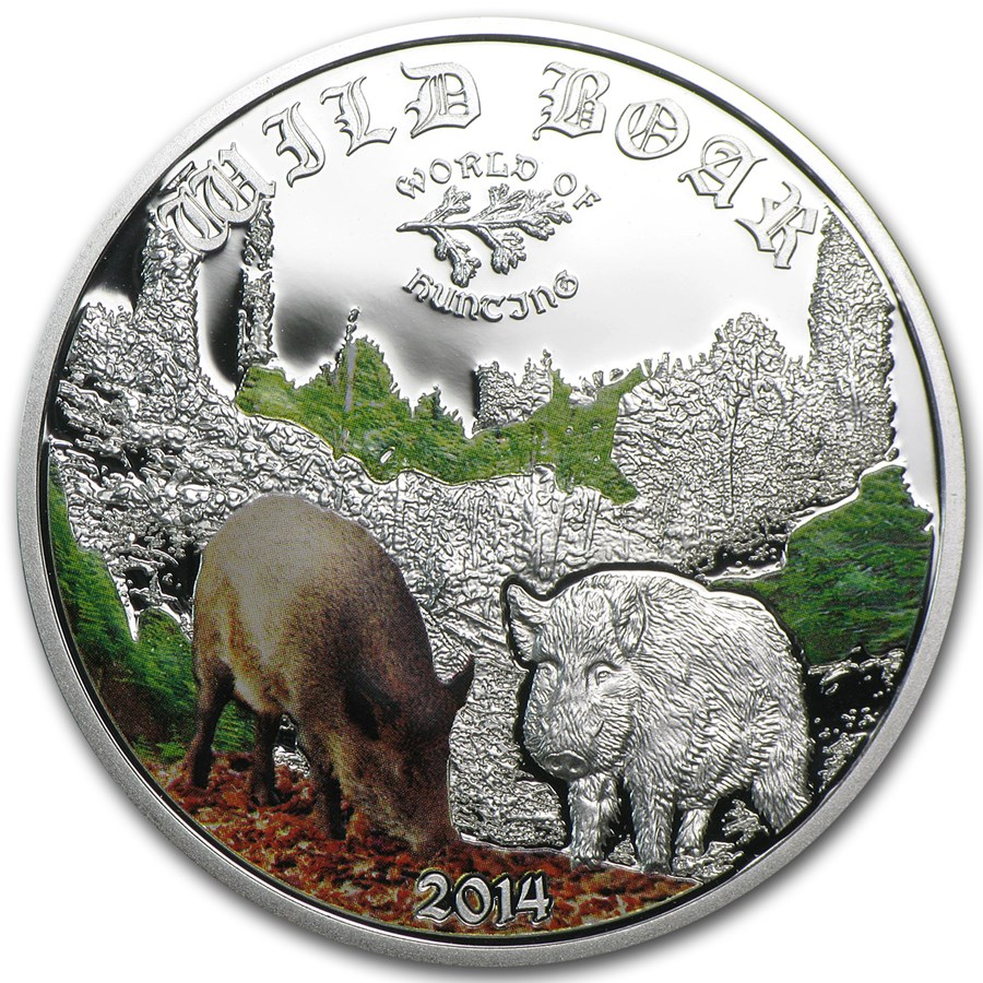 2014 Cook Islands 1/2 oz Proof Silver World of Hunting Wild Boar