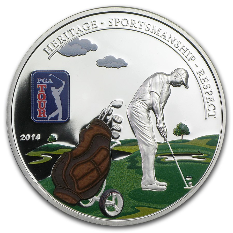 2014 Cook Islands Proof Silver $5 PGA Tour Golf Bag