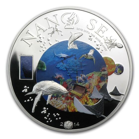 2014 Cook Islands Silver $10 Nano Sea Dive into the Blue Planet