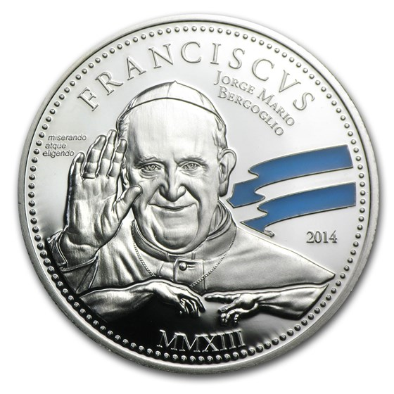 2014 Cook Islands Silver $2 Pope Franciscus