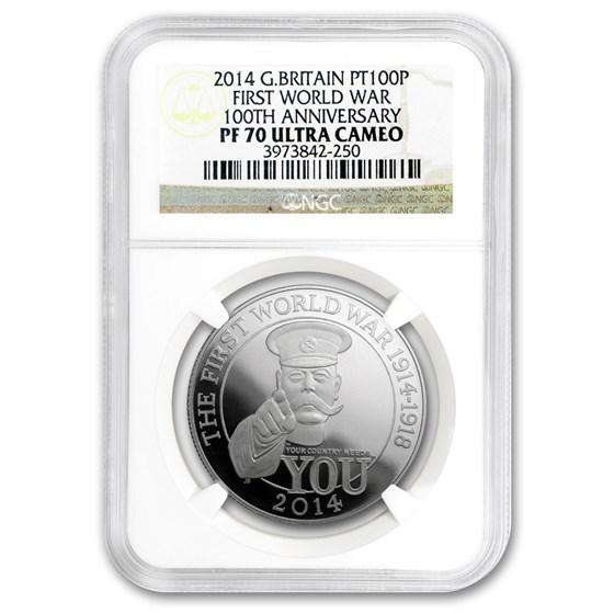 2014 GB 1 oz Platinum First World War 100th Anniv PF-70 NGC