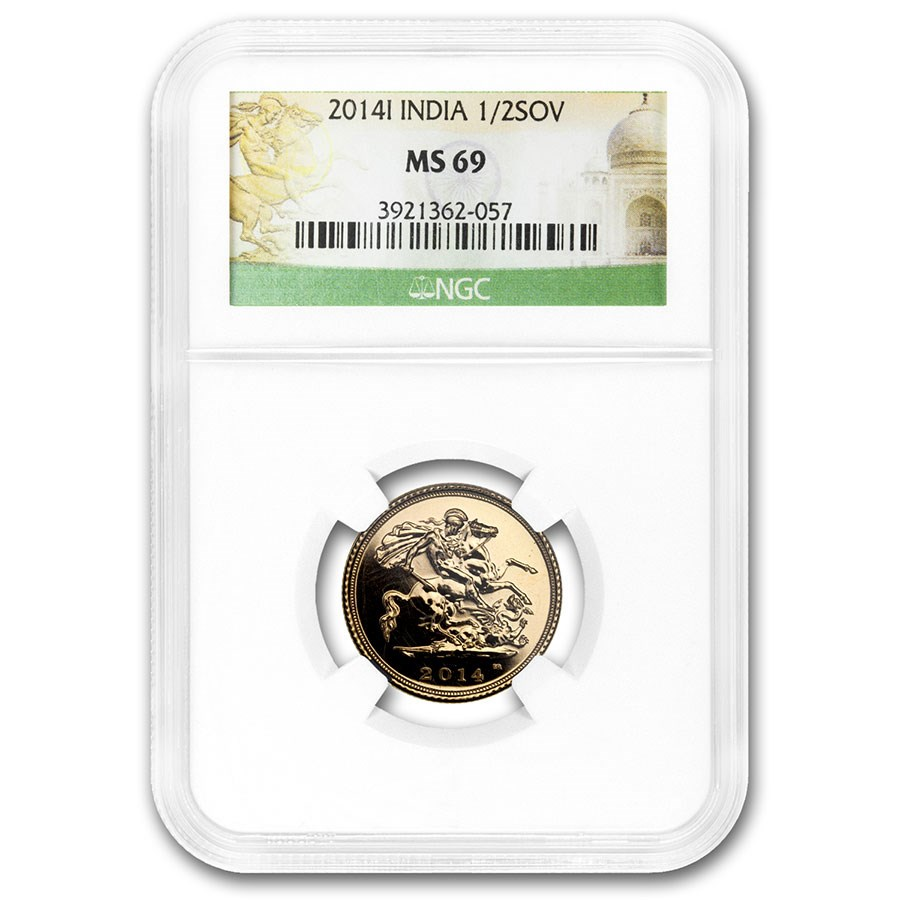 2014-I India Gold Half Sovereign MS-69 NGC