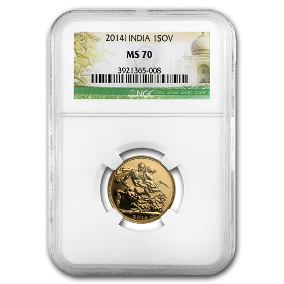 2014-I India Gold Sovereign MS-70 NGC