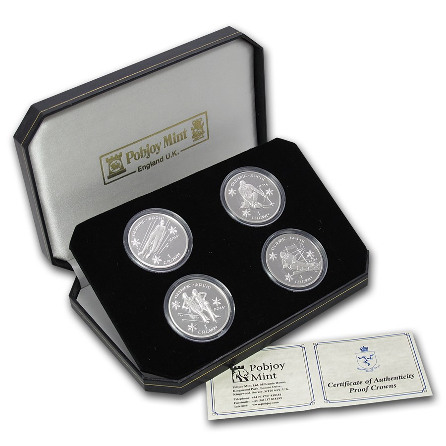 2014 Isle of Man 4-Coin Silver Crown Sochi Olympics Set