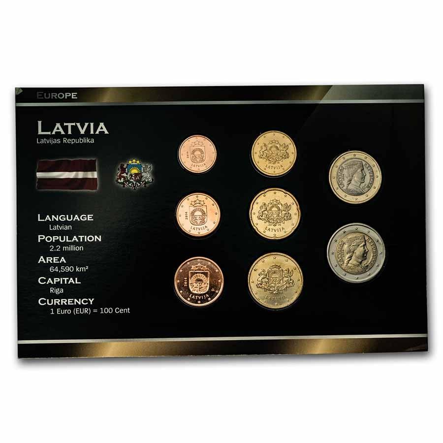 2014 Latvia 1 Cent-2 Euro 8-Coin Euro Set BU