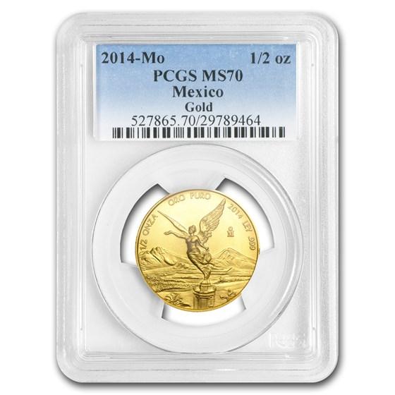 2014 Mexico 1/2 oz Gold Libertad MS-70 PCGS