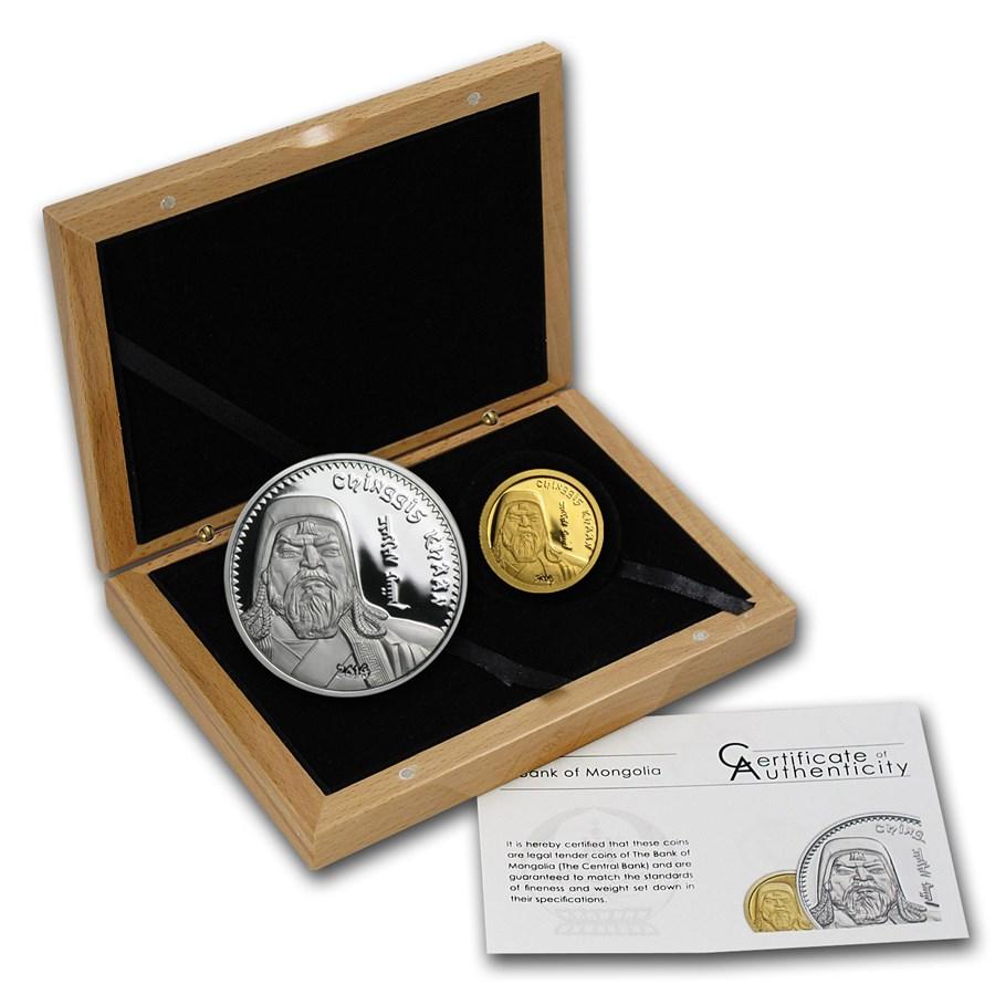 2014 Mongolia 1/2 gram Gold & 1 oz Silver Chinggis Khaan Prf Set