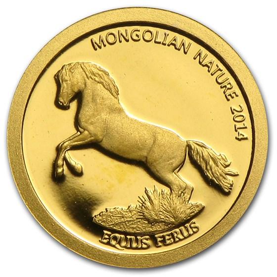 2014 Mongolia 1/2 gram Prf Gold 500 Togrog Mongolian Nature Horse
