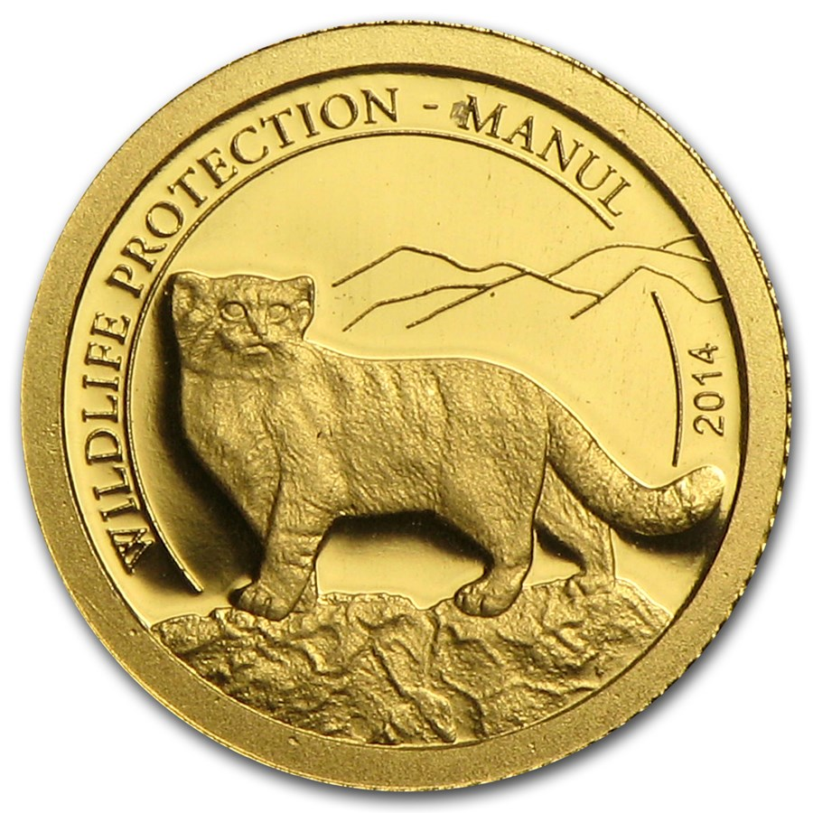 2014 Mongolia 1/2 gram Proof Gold 500 Togrog Wildlife Manul