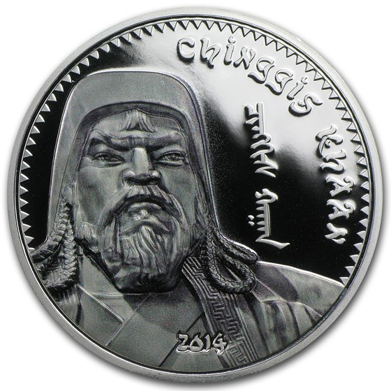 2014 Mongolia 1 oz Silver 1000 Togrog Chinggis Khaan