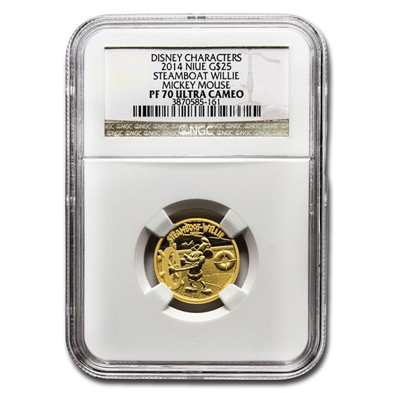 2014 Niue 1/4 oz Proof Gold $25 Disney Steamboat Willie PF-70 NGC