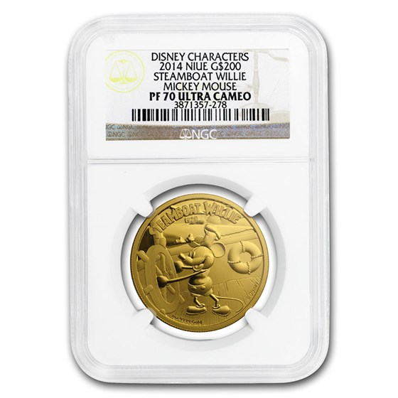 2014 Niue 1 oz Proof Gold $200 Disney Steamboat Willie PF-70 NGC