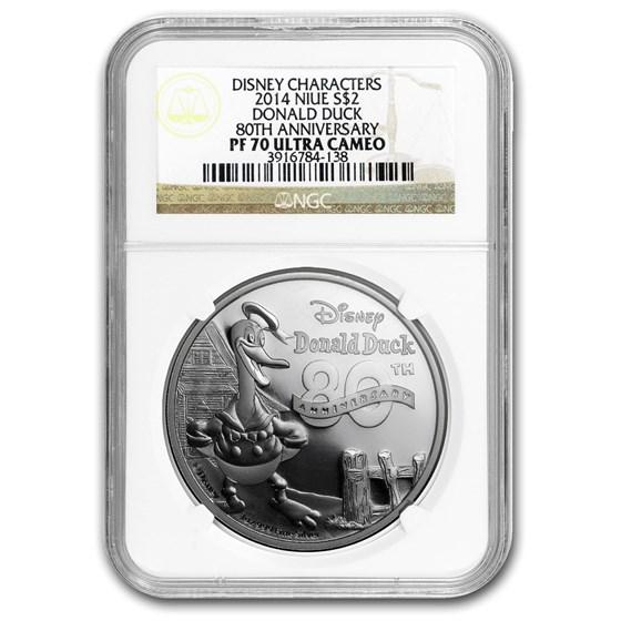 2014 Niue 1 oz Silver $2 Disney Donald Duck 80th PF-70 NGC