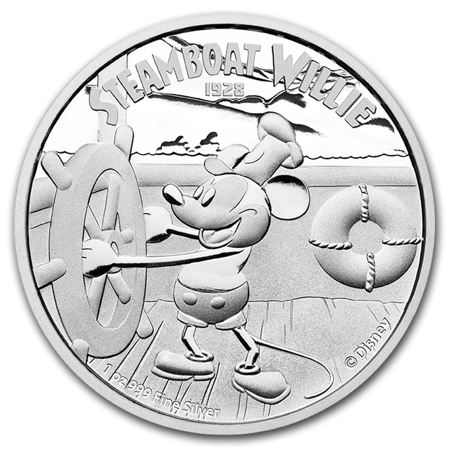 2014 Niue 1 oz Silver $2 Disney Steamboat Willie