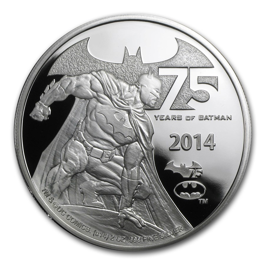 2014 Niue 2 oz Silver 75 Years of Batman Proof