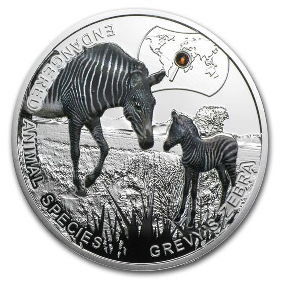2014 Niue Proof Silver Endangered Animal Species Grevy's Zebra