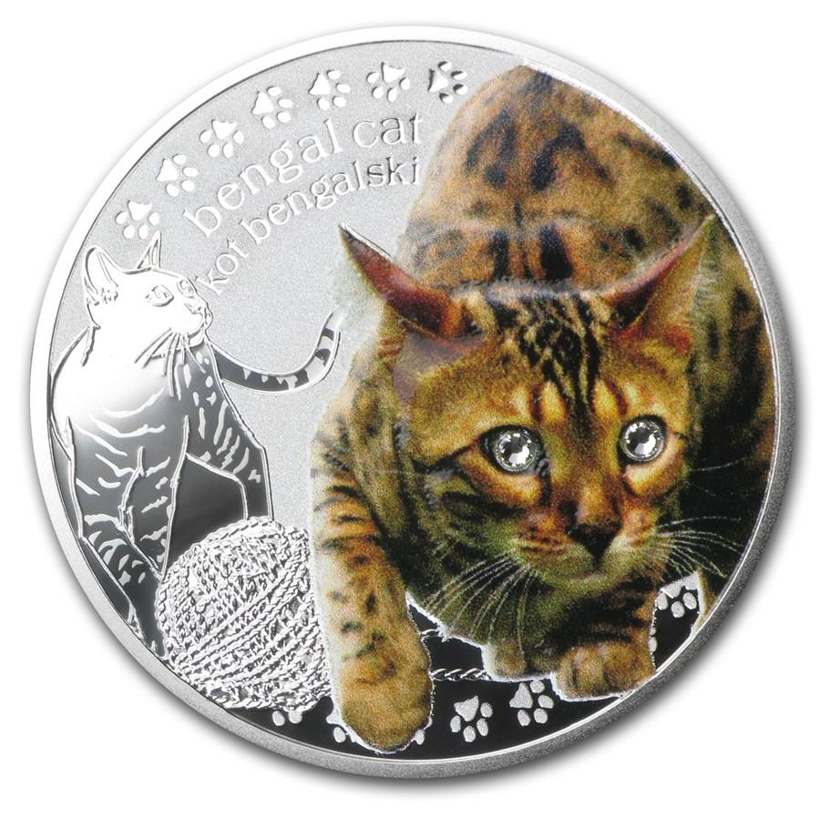 2014 Niue Silver Man's Best Friends Cats Bengal Cat Proof