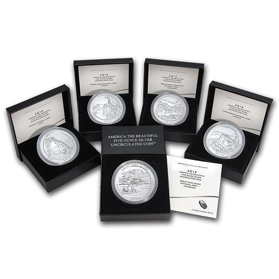 2014-P 5-Coin 5 oz Silver Burnished ATB Set (w/Box & COA)