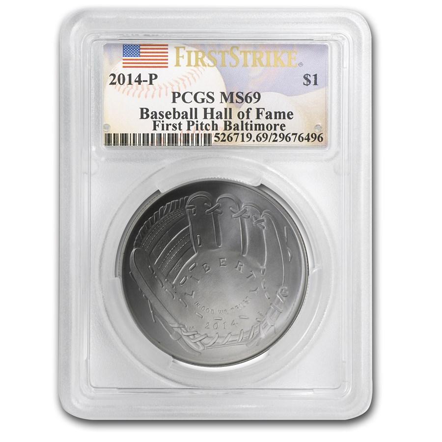 2014-P Baseball HOF $1 Silver Commem MS-69 PCGS (FS, FP)