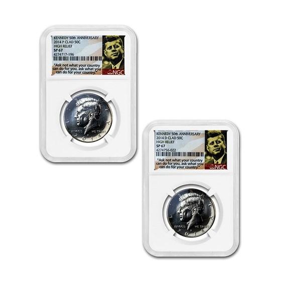 2014-P/D 2-Coin 50th Anniv Kennedy 1/2 Dollar Set SP-67 NGC