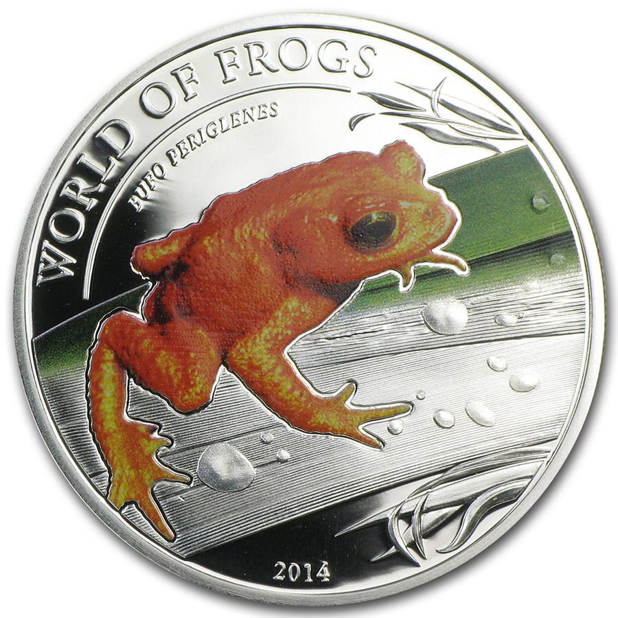 2014 Palau Proof Silver $2 World of Frogs Golden Frog