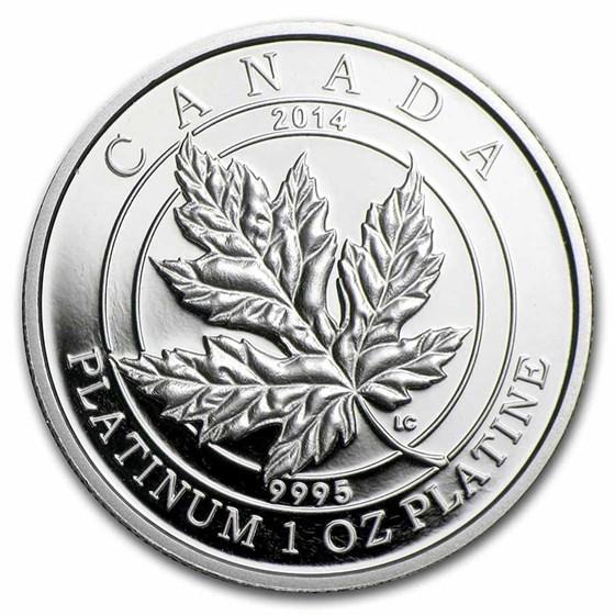 2014 RCM 1 oz Pf Platinum $300 Maple Leaf Forever (Damaged Box)