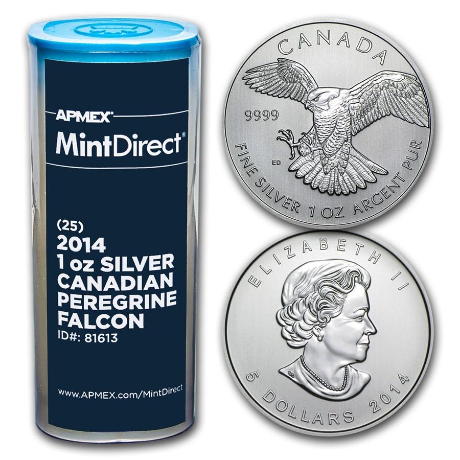 2014 RCM 1 oz Silver Peregrine Falcon (25-Coin MintDirect® Tube)
