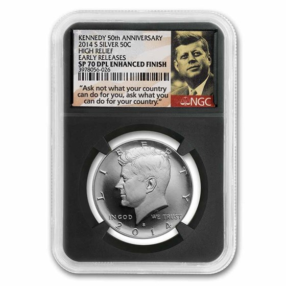 2014-S 50th Anniv Kennedy 1/2 Dollar SP-70 DPL Enhanced NGC
