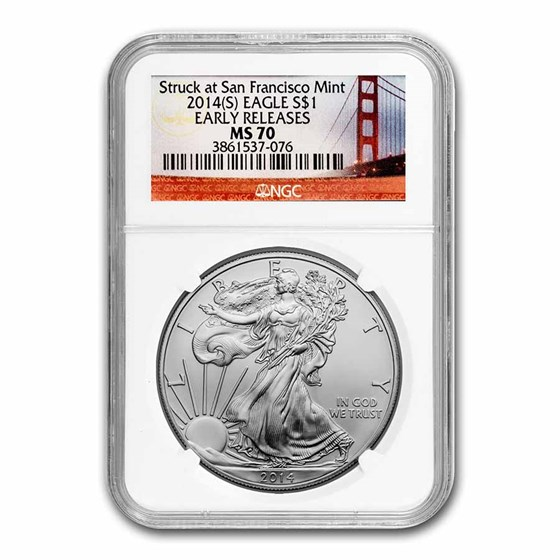 2014 (S) Silver Eagle MS-70 NGC (ER, Golden Gate Bridge Label)
