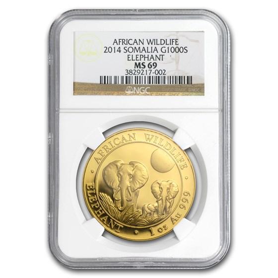 2014 Somalia 1 oz Gold African Elephant MS-69 NGC