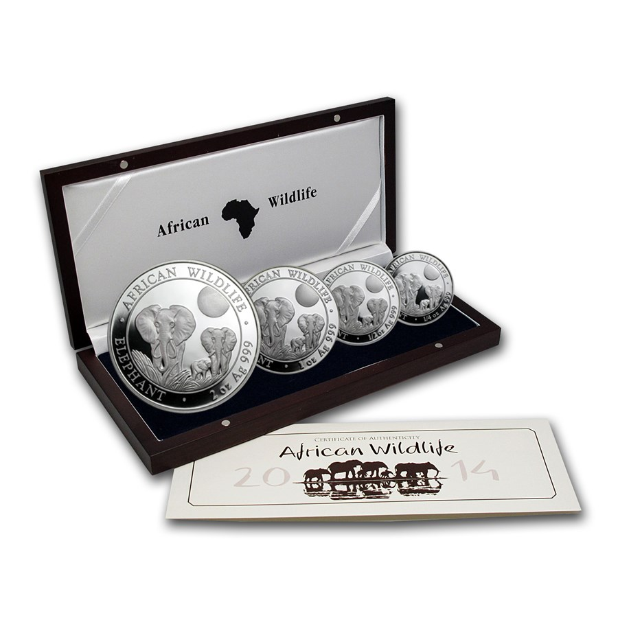 2014 Somalia 4-Coin Silver African Elephant Proof Set