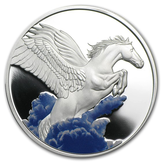 2014 Tokelau 1 oz Silver $5 Pegasus Proof (w/Color)