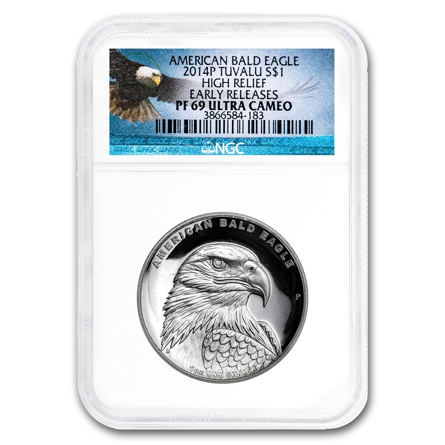 2014 Tuvalu 1 oz Silver Bald Eagle PR-69 NGC (HR, Early Release)