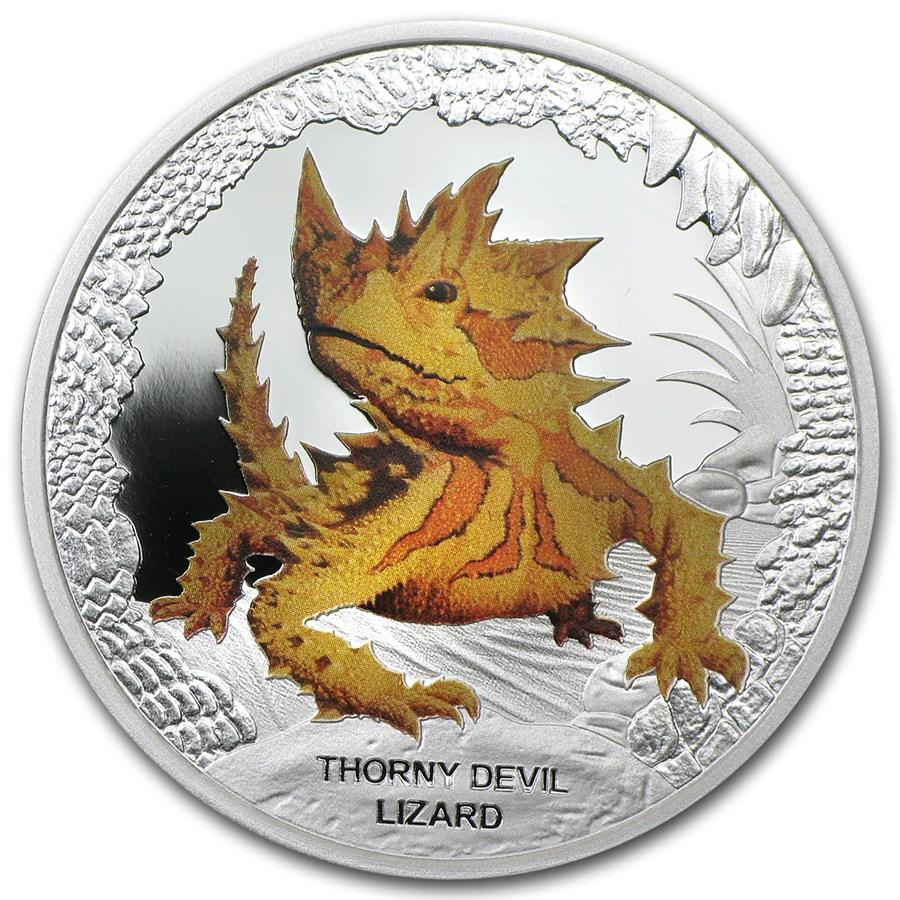 2014 Tuvalu Silver $1 Reptile Series Thorny Devil Lizard