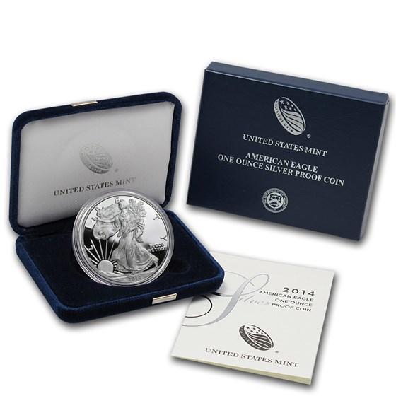 2014-W 1 oz Proof American Silver Eagle (w/Box & COA)