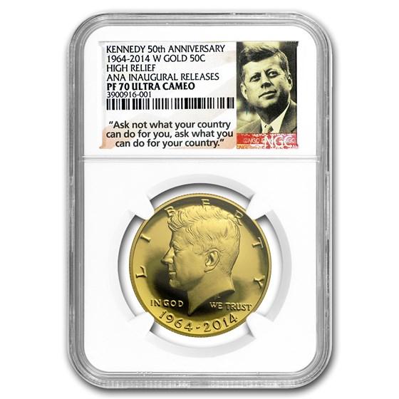 2014-W 3/4 oz Gold Kennedy 1/2 Dollar PF-70 NGC (ANA)