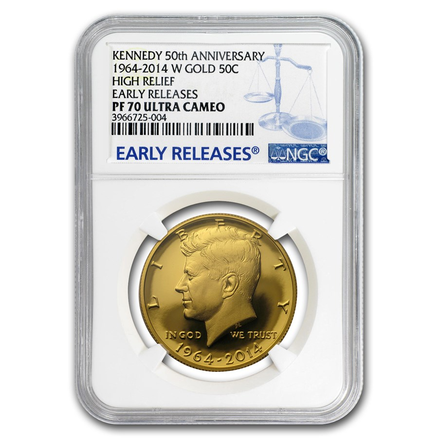 2014-W 3/4 oz Gold Kennedy 1/2 Dollar PF-70 NGC (ER, Blue label)