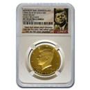 2014-W 3/4 oz Gold Kennedy 1/2 Dollar PF-70 NGC (ER) (JFK label)