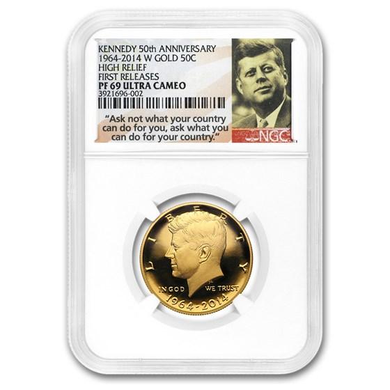 2014-W 3/4 oz Gold Kennedy Half Dollar Commem PF-69 NGC