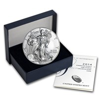 2014-W Burnished American Silver Eagle (w/Box & COA)