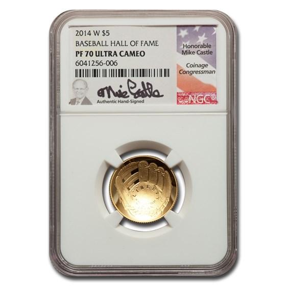 2014-W Gold $5 Baseball HOF Commem PF-70 NGC (Castle)