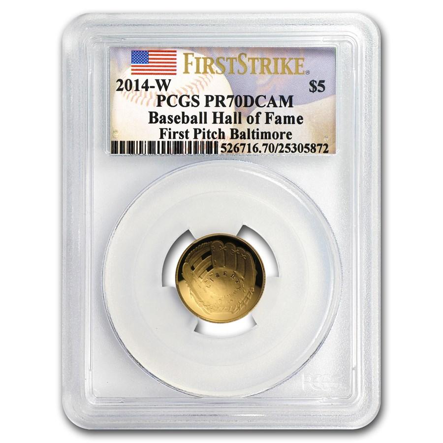 2014-W Gold $5 Commem Baseball HOF PR-70 PCGS (FS, First Pitch)