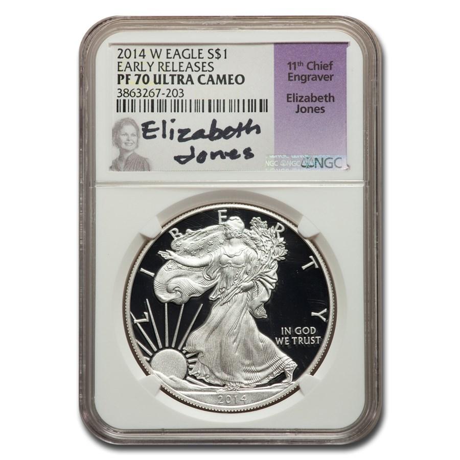 2014-W Proof American Silver Eagle PF-70 NGC (ER, Jones)